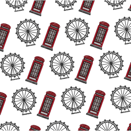 classic british telephone booth with panoramic wheel pattern vector illustration design Illustration