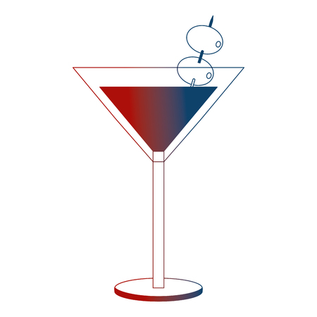 cocktail glass drink alcohol with olives vector illustration neon