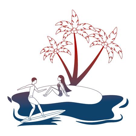 woman on beach and man on surfboard summer vector illustration neon
