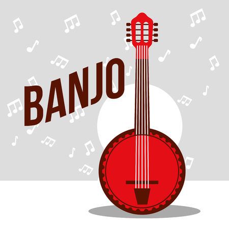jazz festival instruments red banjo music play vector illustration