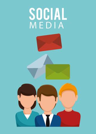 social media community characters vector illustration design 向量圖像