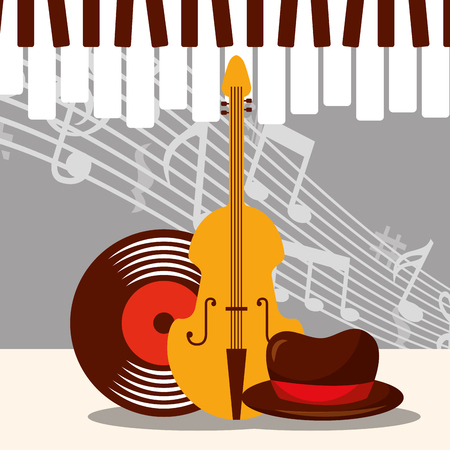 jazz festival instruments piano keys music notes cello disk hat vector illustration Çizim