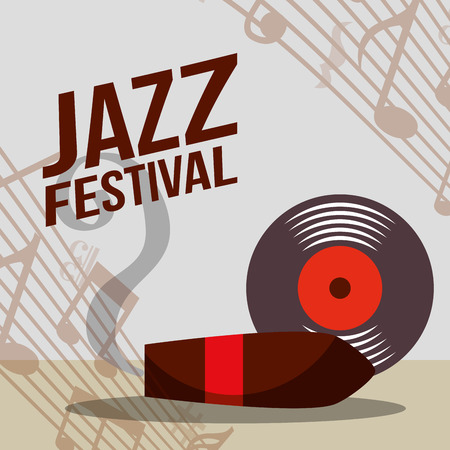 jazz festival instruments disk tobacco smoke music notes vector illustration