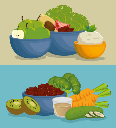 healthy food menu icons vector illustration design