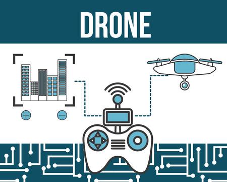 drone technology futuristic focus buildings controller game vector illustration
