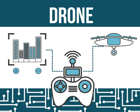 drone technology futuristic focus buildings controller game vector illustration