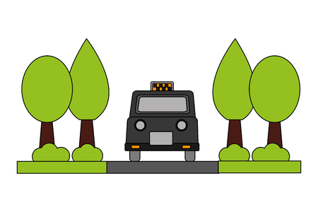 london taxi with trees plants vector illustration design Imagens