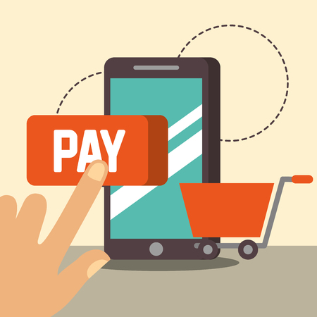 nfc payment technology hand pointed sign pay shopping smartphone vector illustration