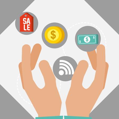 nfc payment technology hands coin money signal vector illustration