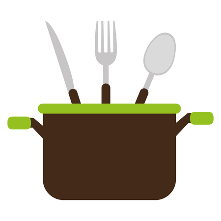 kitchen pot with cutleries vector illustration design Standard-Bild - 114876789