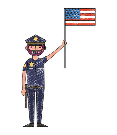 police man character holding american flag labor day vector illustration drawing