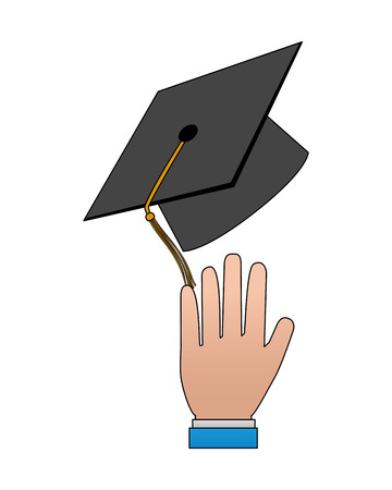 hand with hat graduation vector illustration design  イラスト・ベクター素材