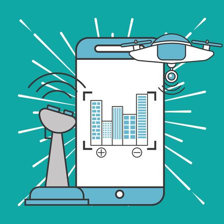 drone technology futuristic smartphone screen focus buildings control vector illustration Stock Photo