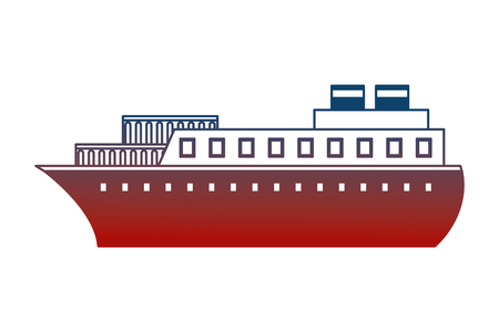 container ship boat transport maritime vector illustration neon