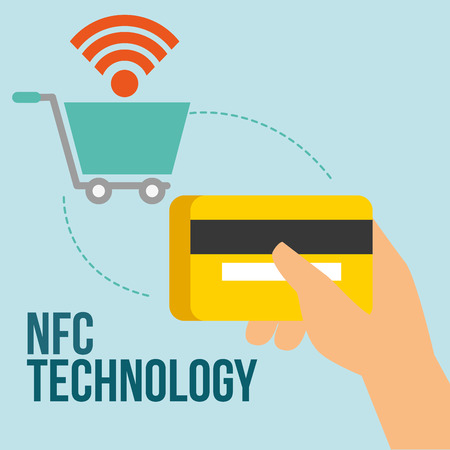 nfc payment technology shopping cart connection hand holding credit card vector illustration
