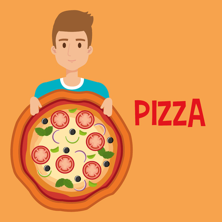 young man with italian pizza vector illustration design Stock Photo