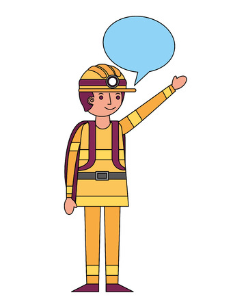 firefighter with speech bubble character vector illustration design