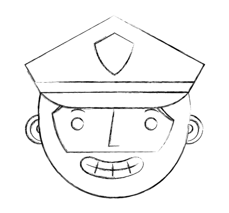 police man in uniform character face character vector illustration sketch