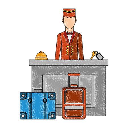 hotel reception with bellboy vector illustration design Illustration