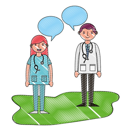 doctor man and woman professional talking vector illustration drawing