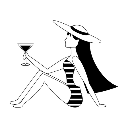 beautiful woman in swimsuit with cocktail vector illustration black and white