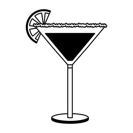cocktail glass drink alcohol salt orange slice vector illustration black and white