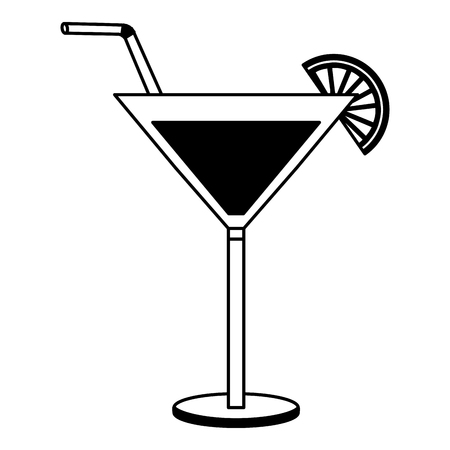 cocktail glass drink alcohol lemon straw vector illustration black and white
