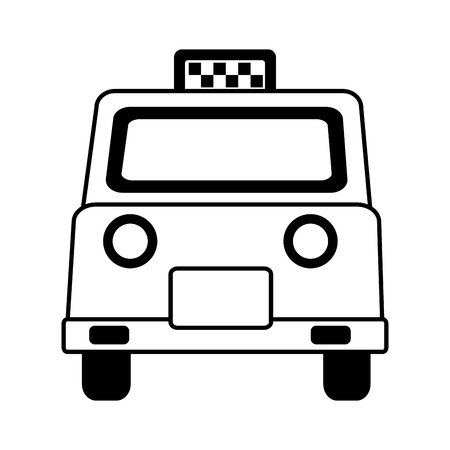 english taxi car transport public vector illustration black and white
