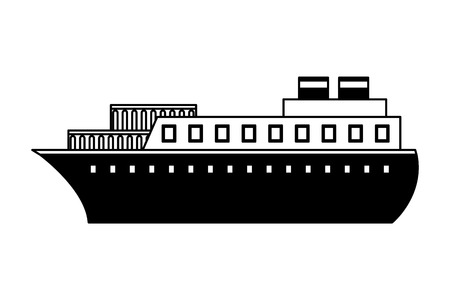 container ship boat transport maritime vector illustration black and white Illustration