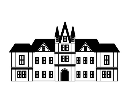 edinburgh castle united kingdom architecture vector illustration black and white
