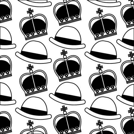english bowler hat and crown royal background vector illustration black and white