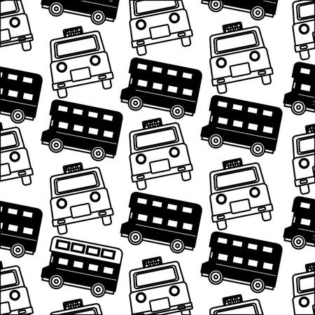 english taxi and double decker bus pattern vector illustration black and white Stock Illustratie