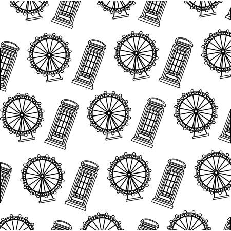 english telephone box and wheel london eye pattern vector illustration black and white