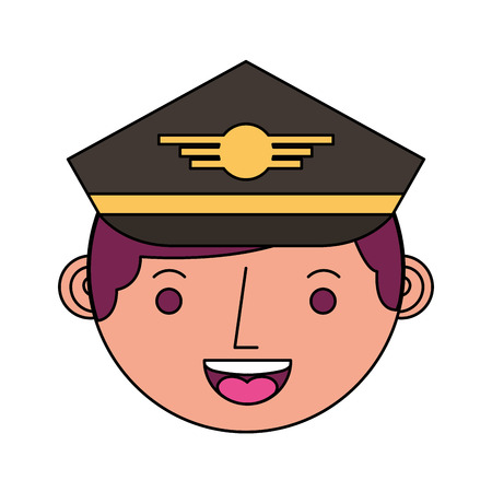 airplane head pilot avatar character vector illustration design