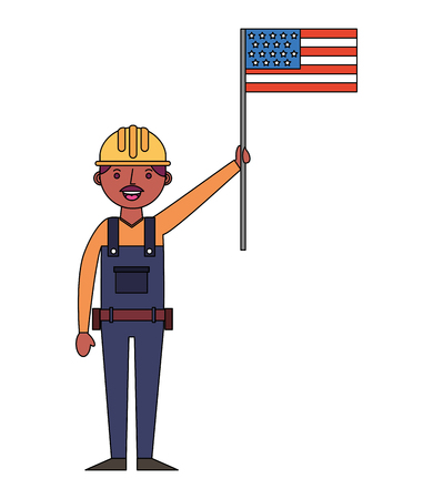 construction builder with usa flag avatar character vector illustration design