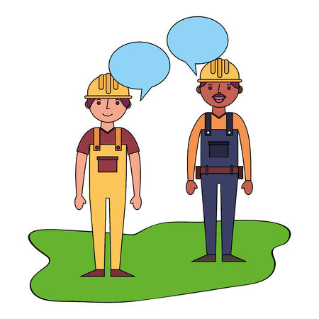 construction builders with speech bubbles vector illustration design Illustration