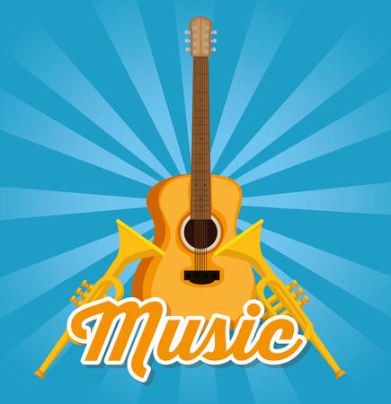 guitar acoustic and trumpets instruments label vector illustration design Çizim