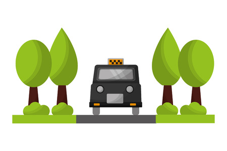 london taxi with trees plants vector illustration design Illustration