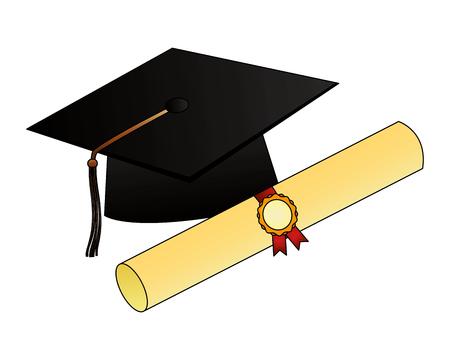 parchment diploma and hat graduation vector illustration design