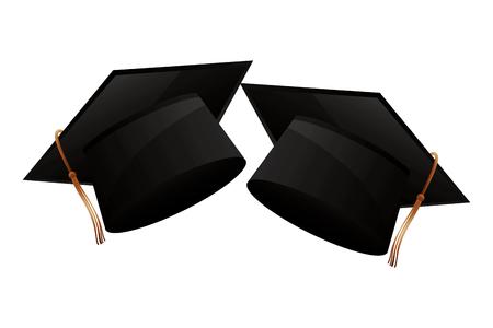 two school graduation hat accessories vector illustration Banque d'images - 114727898