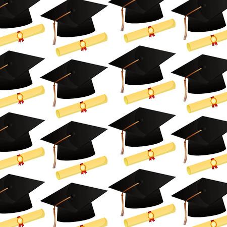 Chapeau de graduation et certificats de défilement modèle scolaire vector illustration