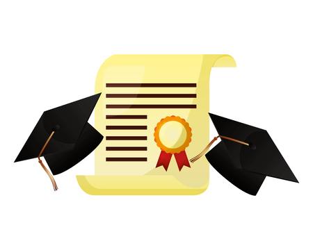 two graduation hat and school certificate vector illustration Illustration