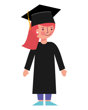 school girl in graduation clothes and hat vector illustration Illustration