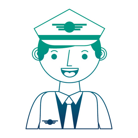 commercial airplane pilot in uniform portrait vector illustration gradient design
