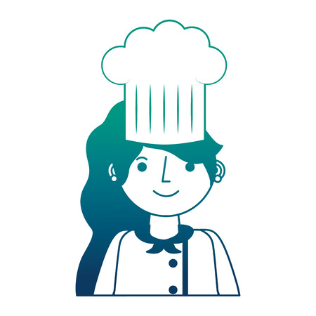 chef woman character with hat portrait vector illustration gradient design Illustration