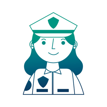 woman police officer in uniform character portrait vector illustration gradient design