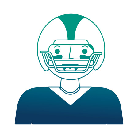 sport man player american football portrait vector illustration gradient design