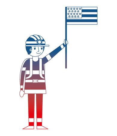 man miner in helmet holding american flag labor day vector illustration gradient design Stock Illustratie