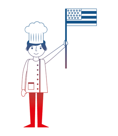 chef man professional holding american flag labor day vector illustration gradient design