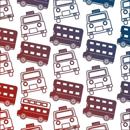 english taxi and double decker bus pattern vector illustration neon
